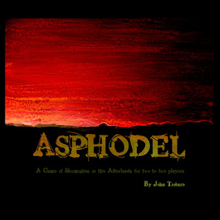 The Asphodel cover art: the title in brown on a painting of a black horizon against a red sky.