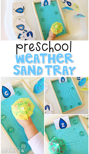 This rain themed sand tray is fun for letter writing and fine motor practice with a weather theme. Great for tot school, preschool, or even kindergarten!