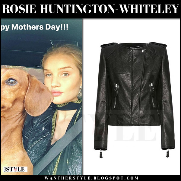 Rosie Huntington-Whiteley in black leather jacket isabel marant keni and printed scarf rockins what she wore march 2017
