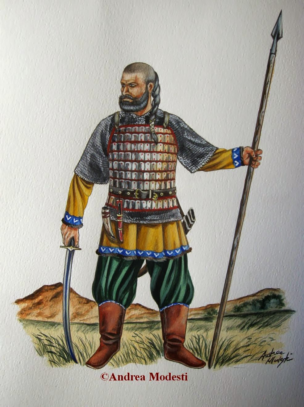 Andrea Modesti Art Bulgar Warrior And Mongol Horseman