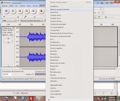 Imagen Audacity, Imagen Editor de audio, Foto Software libre, Foto aplicación multiplataforma, Imagen grabar audio, Imagen mezclar pistas, Foto efectos de audio, Imagen Menú de efectos