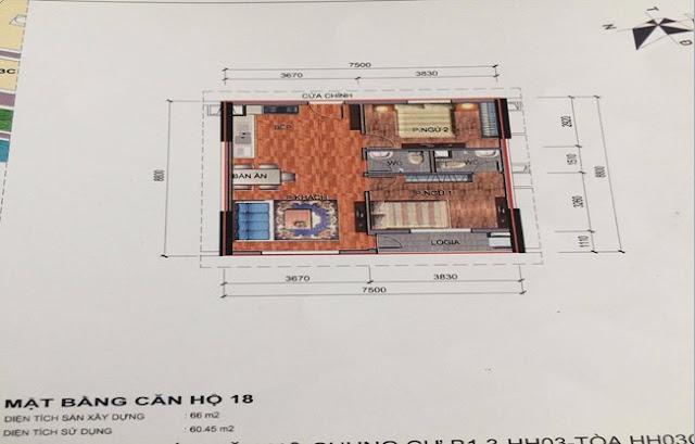 Sơ đồ thiết kế căn hộ 18 chung cư B1.3 HH03C Thanh Hà Cienco 5
