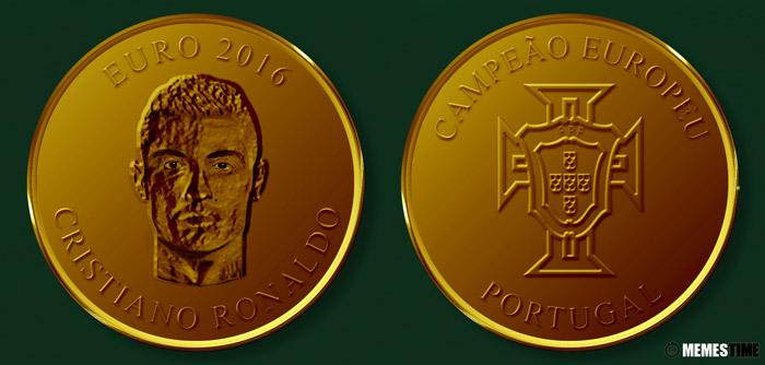 Meme com Medalha Comemorativa da Conquista do Euro 2016 pela Seleção Nacional de Portugal – Cristiano Ronaldo.