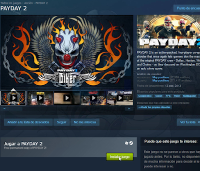 Pagina de payday 2 en steam.