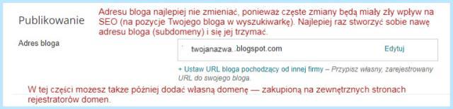 """Ustawienie """"Podstawowe"""" na Bloggerze (Adres bloga)."""