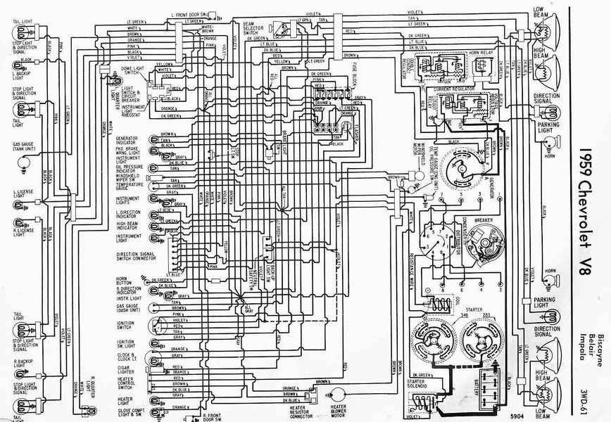 1959 Chevrolet V8 Impala Electrical Wiring Diagram