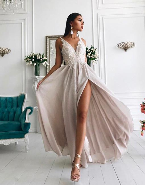 Sexy V-Neck Evening Gowns | Appliques Side Slit Formal Dresses