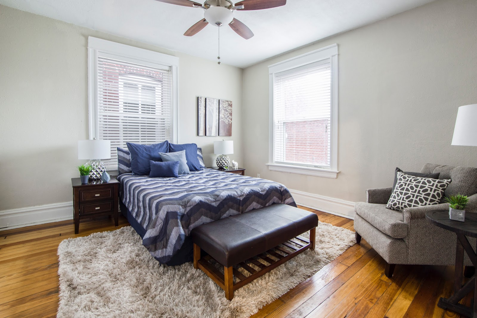 Interior of White-walled Cozy bedroom
