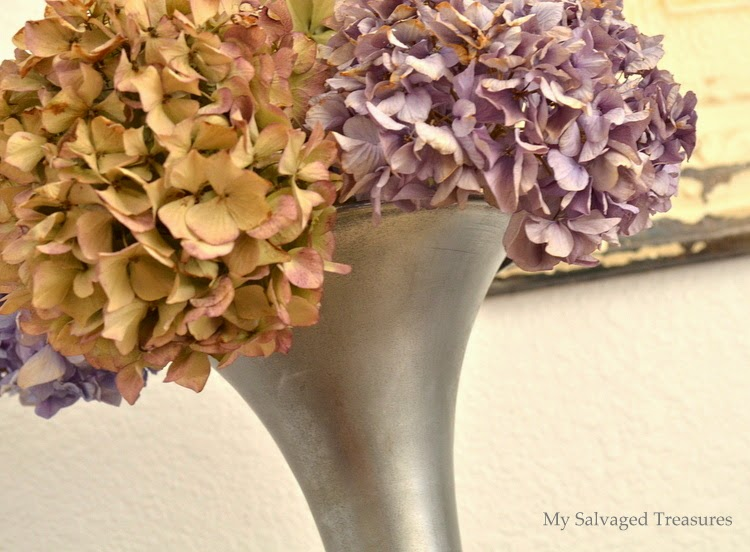 display dried hydrangeas in an upcycled vase