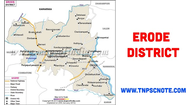Erode District Information, Boundaries and History from Shankar IAS Academy