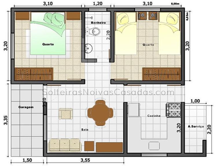 casas com 2 quartos