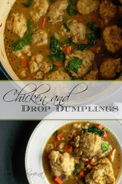 A bowl of the chicken and drop dumplings sitting next to the pot full of them with the title placed in between.
