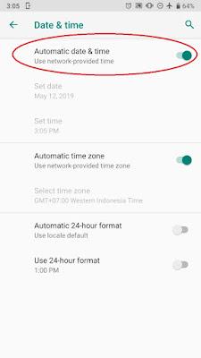 Pengaturan Date and Time diubah ke Manual