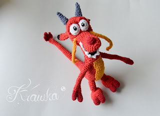 Krawka: Red chinese dragon Mushu crochet pattern by Krawka disney Mulan Mushu crochet doll