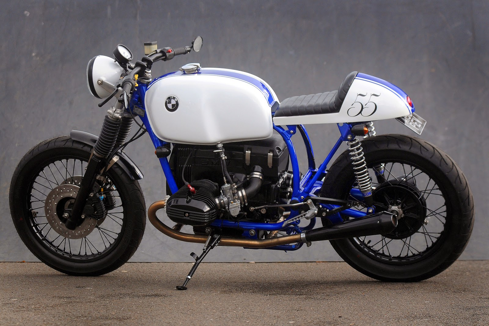 racing caf bmw cafe racer azure by kevils speed shop. Black Bedroom Furniture Sets. Home Design Ideas