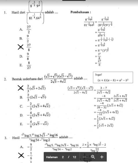 gambar prediksi soal un sma matematika dan pembahasannya 2018