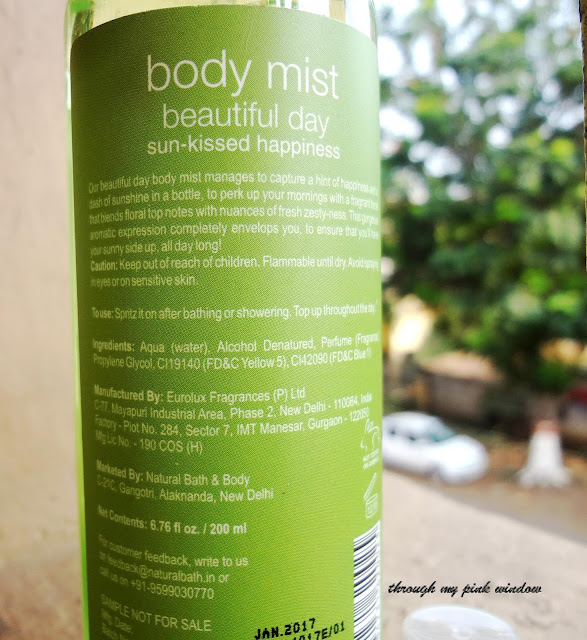 Review of Natural Bath & Body Mist in Beautiful Day