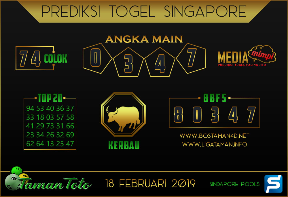 Prediksi Togel SINGAPORE TAMAN TOTO 18 FEBRUARI 2019