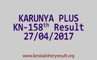 KARUNYA PLUS Lottery KN 158 Results 27-4-2017
