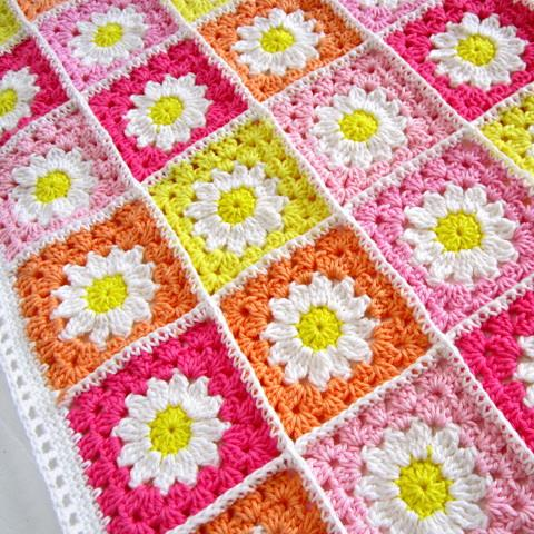 crochet blanket, crochet flower square motif, Tutorial