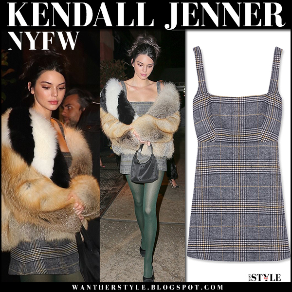 Kendall Jenner in fur jacket and grey tweed plaid mini dress alexachugn new york fashion week outfit february 2018