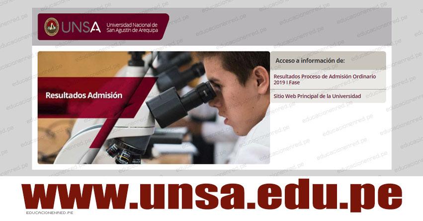 UNSA publicó Resultados del Examen de Admisión 2019 - I Fase (Hoy Domingo 9 Septiembre) Lista de Ingresantes - Universidad Nacional de San Agustín de Arequipa - www.unsa.edu.pe