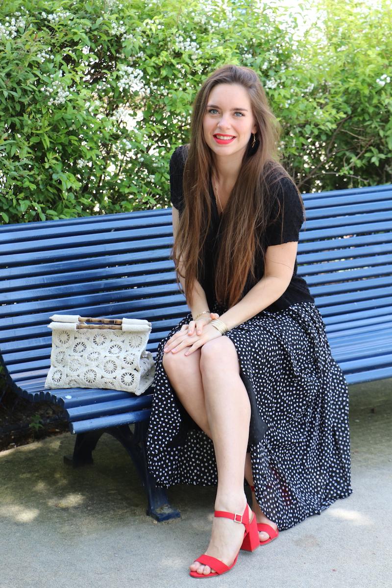 jupe longue plissée à pois 7