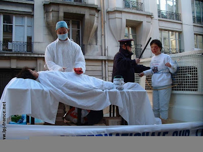 Street protest against organ transplants from executed inmates, Paris, 2007