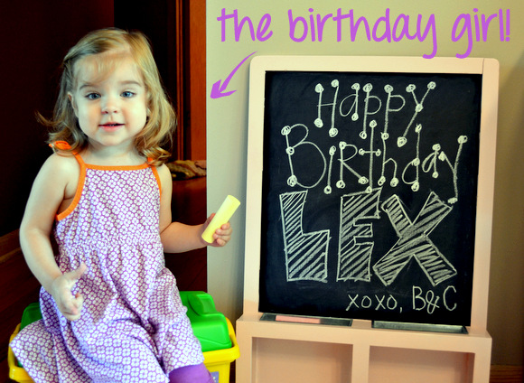 Little girl Lex loves her upgraded pink chalkboard!