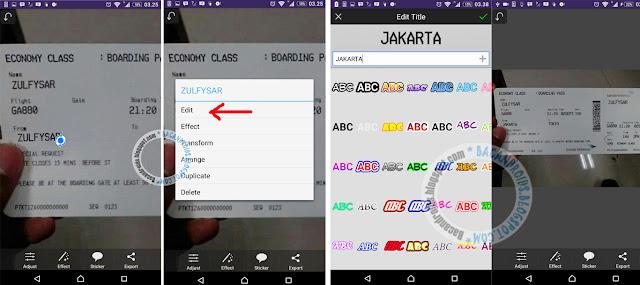 Edit Foto Membuat Tiket Pesawat Garuda di Android
