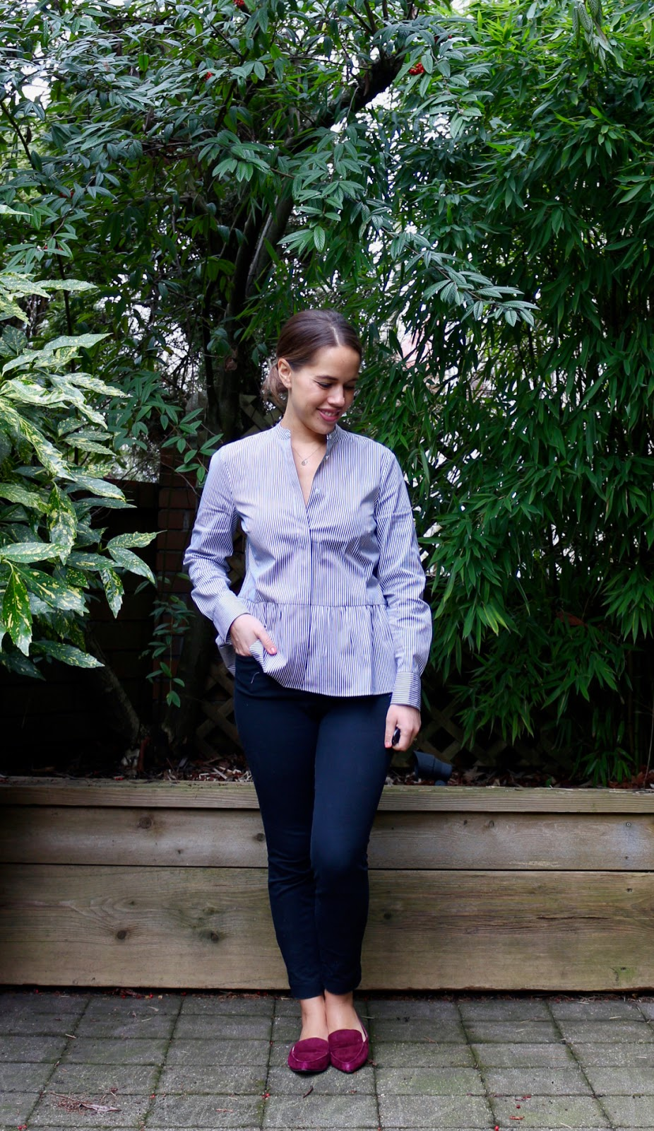 Jules in Flats - Striped Peplum Top (Business Casual Winter Workwear on a Budget)