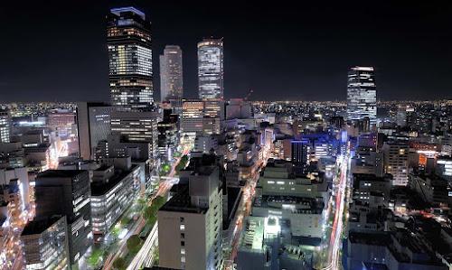 Cidade de Nagoia à noite