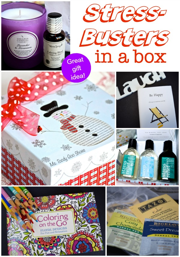 "Stress-Busters in a Box: Great gift idea for people who need to ""chill!"" 