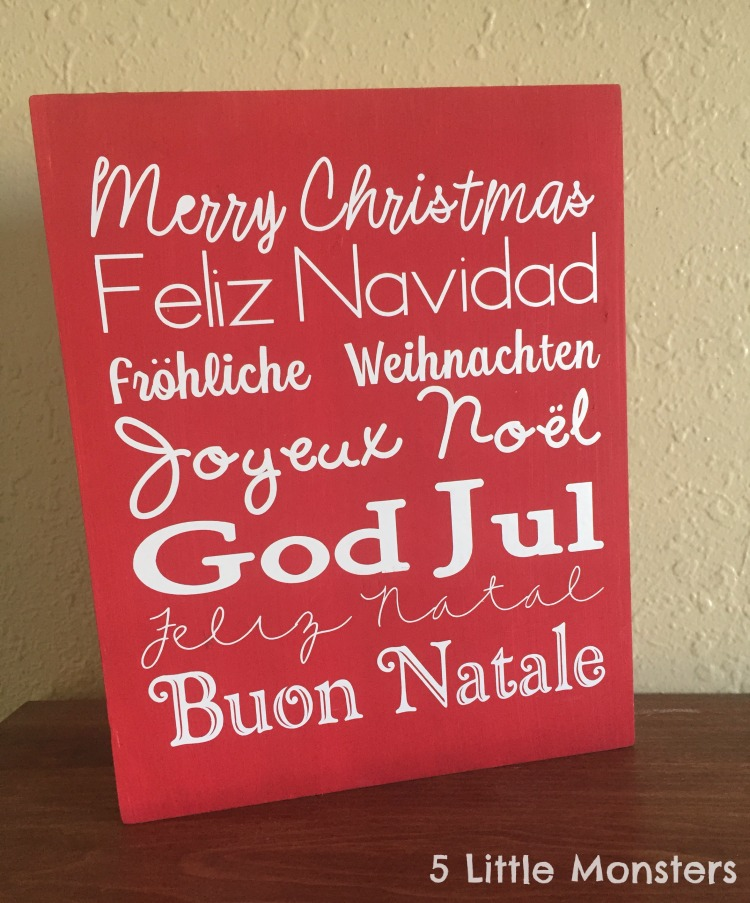 5 Little Monsters Merry Christmas Around The World Sign