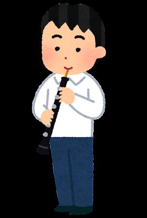 オーボエを演奏する男子学生のイラスト(吹奏楽)