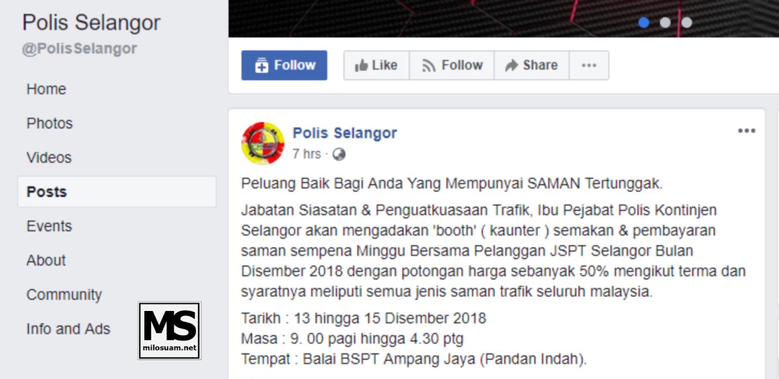 Diskaun Saman Polis Selangor 50 peratus
