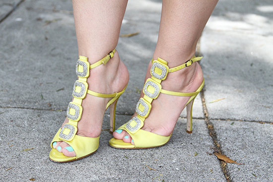 Manolo Blahnik Yellow Suw Jeweled Heels from The Real Real