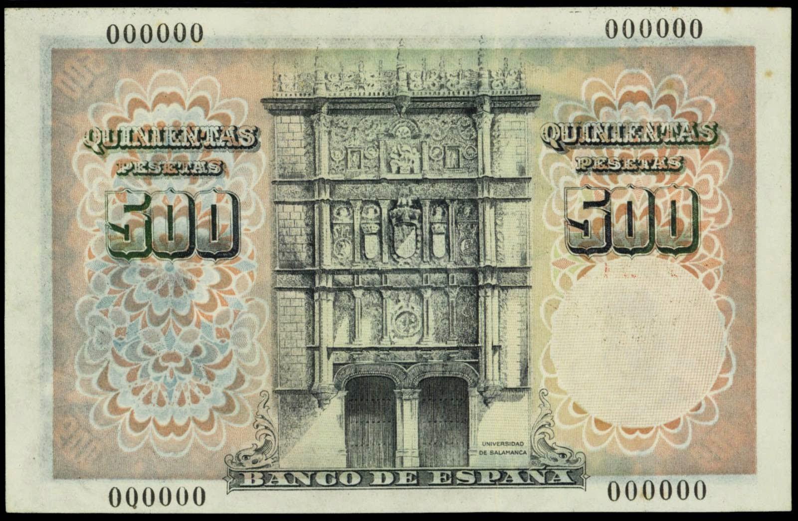 Spain currency 500 Pesetas banknote 1946 Salamanca