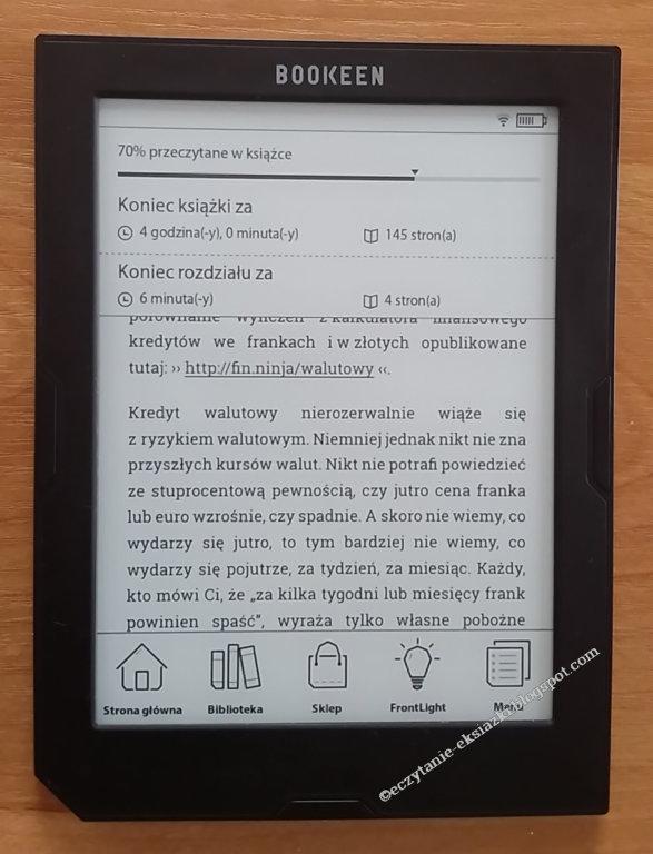 Ekran z informacjami o postępach w czytaniu - czytnik Cybook Muse Light
