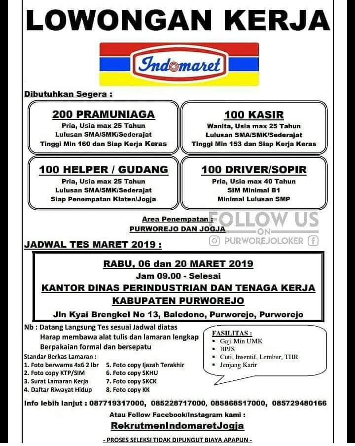 Lowongan Kerja Indomaret Purworejo Max 20 Maret 2019 Loker Swasta
