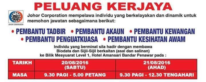 Jawatan Kosong Johor Corporation