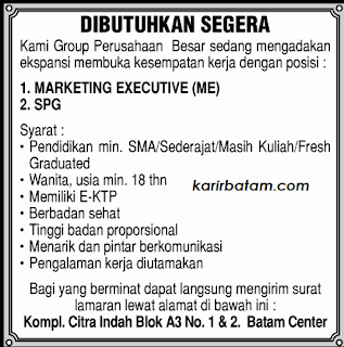 Lowongan Kerja Marketing Executive Citra Indah