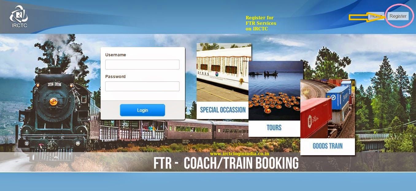 irctc ftr service home page