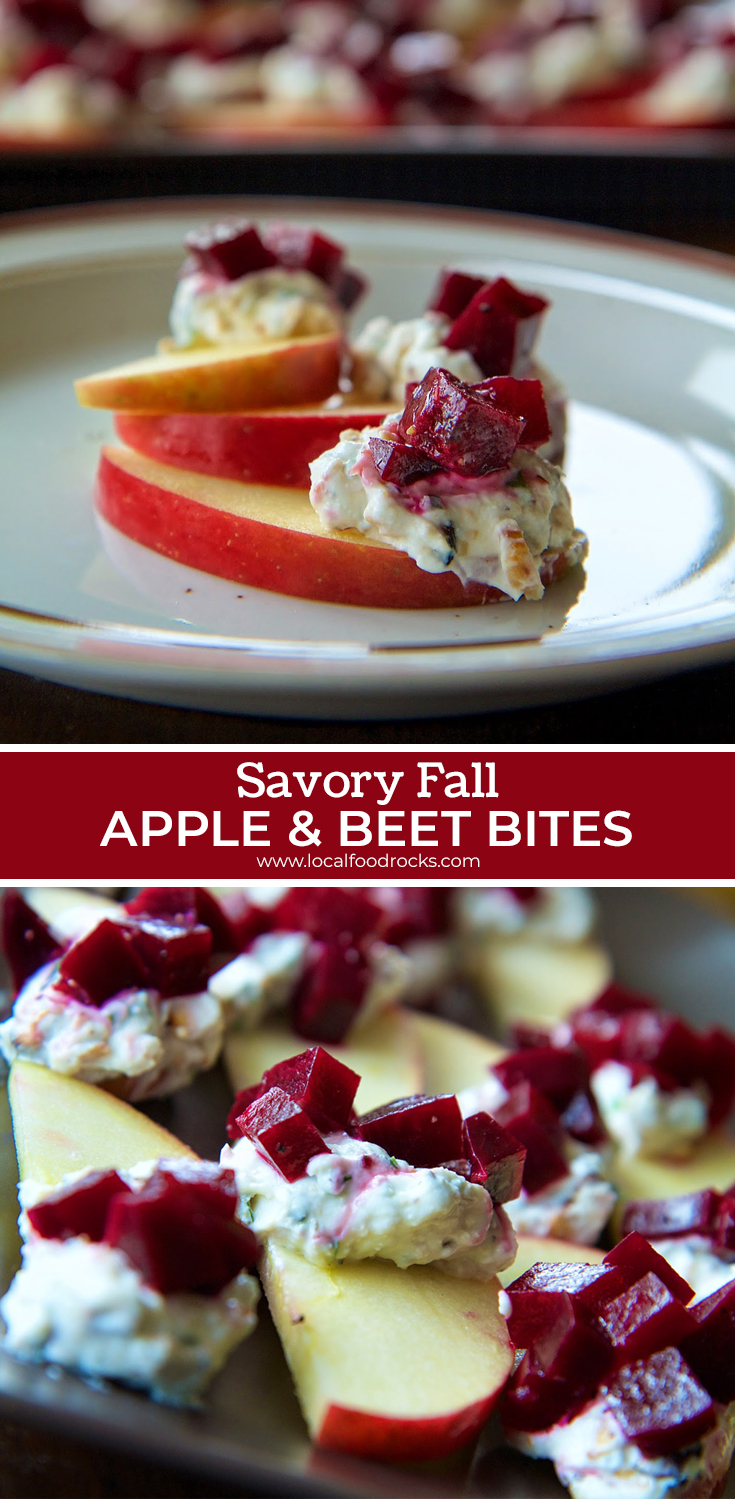 These savory apple and beet bites are a healthy and delicious appetizer for your next holiday party. | Local Food Rocks