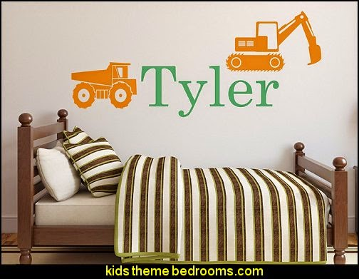 Personalized Truck Name Wall Decal - Boys Name Wall Decal - Construction Wall Decals