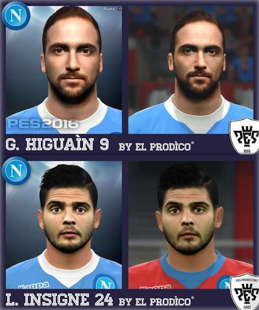 PES 2016 Gonzalo Higuain Face & Lorenzo Insigne Face