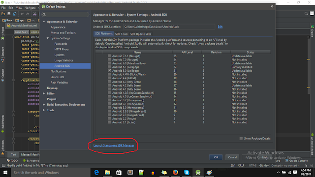 Launch SDK Manager Android Studio