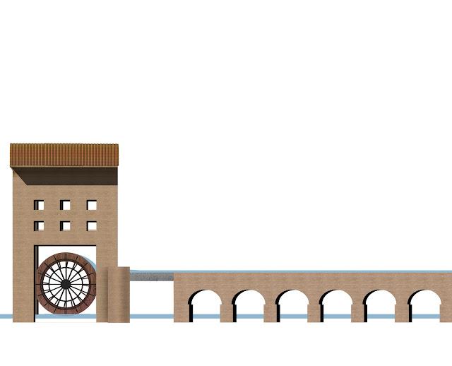 dibujo arquitectura del agua, Noria en L`Alcudia , Valencia