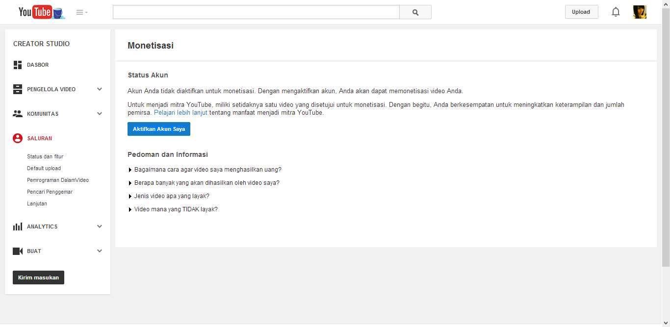 Cara Mengaktifkan Fitur Monetisasi YouTube 3