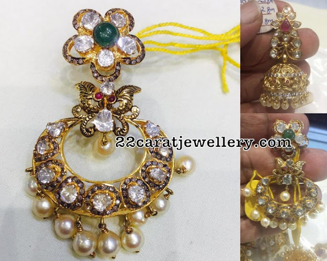 Splendid Uncut Diamond Jhumka and Chandbalis